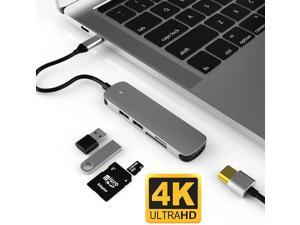 LUOM USB-C Hub, 5-in-1 USB-C Adapter, with 4K 30Hz HDMI, USB-3.0 5Gbps Data Ports,USB2.0 Ports, SD/TF Card Slots for MacBook Pro/iPad Pro/Type-C Devices