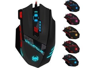 Zelotes 12 Buttons Programmable  LED Optical USB Wired Professional Gaming Mouse, Gaming Mice 4 Level Switch Adjustment 4000 DPI