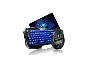 AULA Blue LED Backlight Multimedia USB Gaming Keyboard + 2000 DPI Ergonomic Gaming Mouse + Mouse Pad Set   Gaming Combo