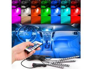 RCF CAR 4pc. Color 7 Color LED Car Interior Lighting Kit,car interior decoration atmosphere light and Wireless Remote Control
