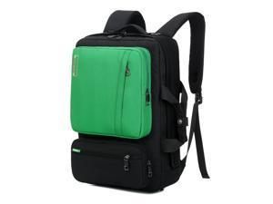 SOCKO 17 Inch Laptop Backpack with Side Handle and Shoulder Strap,Travel Bag Hiking Knapsack Rucksack College Student Shoulder Back Pack For Up to 17 Inches Laptop Notebook Computer, Black+Green
