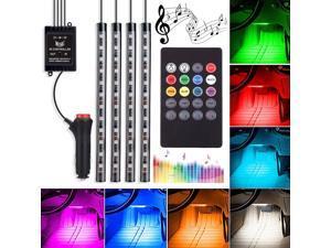 RCF Automotive LED Decor Strip Lights, 4pcs 48 LED Lights DV 12V Car Multi-color Music RGB LED Interior Lighting, Car Decorative Lights, With Sound-activated, Remote Controller, Car Charger Included