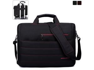 BRINCH Laptop Bag 17.3 Inch Classic Padded Briefcase Messenger Bag with Shoulder Strap and Handle for Laptop Notebook Chromebook Ultrabook - Black/Red