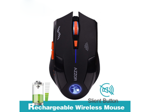 AZZOR Rechargeable Wireless Optical Mouse Mute Button Gaming Mice 2400dpi Built-in Battery For PC Laptop Computer