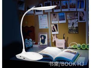 LUOMs LED Desk Lamp, 5W Touch Control Dimmable Table Lamp Battery Operated 3-Level Brightness Lamp, 18LED Gooseneck Compact Portable Eye-Caring Lamp for Bedroom Study Office (White)