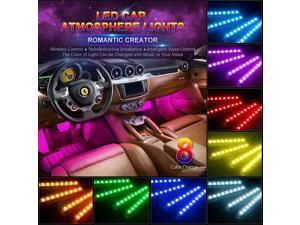 LUOMs 4pcs Car RGB LED Strip Light LED Strip Lights 16 Colors Car Styling Decorative Atmosphere Lamps Car Interior Light With Remote