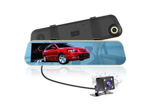 Jieyutes Dual Lens Car Camera, 1080P Full HD Dash Cam Car Recorder DVR with 4.3 Inch Screen, 170-degree Wide Angle Lens with Waterproof Rear Camera (8GB SD Card Included)