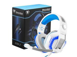 Beexcellent GM-2 Pro Gaming Over-Ear Headset with Mic, LED Lights and Volume Control Stereo Bass, Noise Cancelling, 3.5mm, for PS4 Xbox One, Laptop, PC, Tablet, Most Smartphones (White)