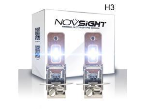 NOVSIGHT H3 LED Car Fog Light Bulbs All-in-One 60W 1,800 Lumens 6,000K Cool White - 2 Yr Warranty