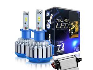 H3 LED Headlight Bulbs Convex LED Chilps 70W 6000K 7200LM High Beam/Low Beam/Fog Lights Cool White Conversion Kit+ Canbus-2 Yr Warranty