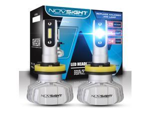 NOVSIGHT H11(H8, H9 LED Headlight Bulbs, Extremely Bright 10000LM/Pair 50W/Pair 6500K Cool White, High Beam/Low Beam, HID or Halogen Head light Replacement, H8/H9/H11 Car LED Headlights Conversion Kit