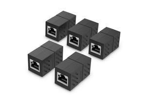 LUOM Female to Female Network LAN Connector Adapter Coupler Extender RJ45 Ethernet Cable Extension Converter-(5-PACK, Black)