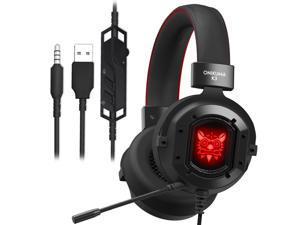 ONIKUMA K3 Gaming Headset Headphones Surround Sound USB Headphones Bass Earphones Headphones with Mic RGB Light for Mac Nintendo Switch New Xbox One PUBG Games
