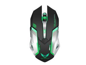 ZERODATE X70 Dual-Mode Wireless Gaming Mouse with 7-colorful Breathing Backlit, 2400 DPI, Ergonomic Grips, 6-Button Design - Black