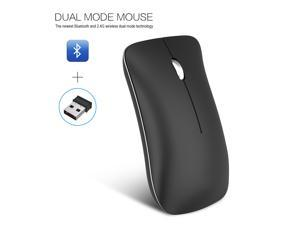 HXSJ Dual Mode: Bluetooth + 2.4 G wireless Wireless Gaming Mouse with Unique Silent Click, 400mAh Rechargeable, 1600 DPI, Ergonomic Grips, 3-Button Design - Black