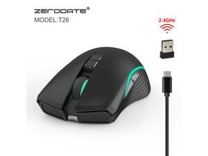 ZERODATE new TYPE-C fast charging mouse wireless mouse 2.4G colorful breathing light black suitable for notebook desktop PC