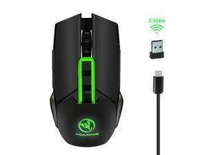 MOYUKAXIE X80 Wireless Gaming Mouse, 7-Button Design, 4800 DPI High Precision Optical Sensor, 5 Adjustable DPI Mice(4800/3200/2400/1600/1000), Comfortable Grips, Green+Black