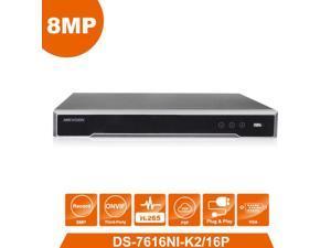 Hikvision English Version DS-7616NI-K2/16P 4K NVR 2SATA with 16 POE ports Embedded Plug & Play 4K H.265 NVR Network Digital Video Recorder