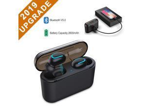 LUOM Wireless Earbuds Bluetooth 5.0 Headphone TWS True Wireless Stereo IPX5 Waterproof in-Ear Earphones Noise Canceling Bass Stereo Mini Bluetooth Headset Built in Mic with Charging Dock-Black