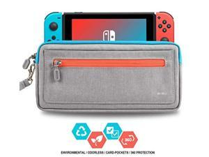 Slim Nintendo Switch Case,WiWU Switch Case with 5 Game Slots in Side Pocket Portable Travel Carry Case Waterproof Scratch-Resistant Protective Sleeve Pouch Bag for Nintendo Switch & Accessories, Gray