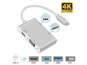 LUOM Type C to HDMI Adapter, USB C 3.1 to HDMI VGA DVI USB 3.0 (Thunderbolt 3 Compatible) Multi Video USB C HUB Converter,Multi Monitors Adapter for MacBook/Chromebook Pixel to HDTV/Monitors/Projector