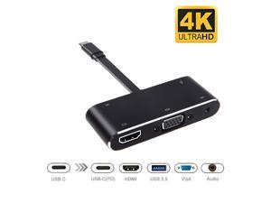 LUOM USB C HDMI VGA Hub, USB-C Type-c to HDMI 3840x2160 4K VGA USB3.0 USB C PD Audio 3.5mm Docking Cable Adapter Compatible with MacBook Pro 2018/2017,ChromeBook,Dell XPS,and More USB Type C Devices