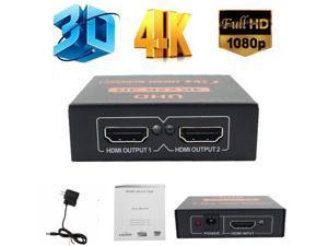 LUOM Ultra HD 4K HDMI Splitter 1X2 Port 3D UHD 1080p 4K*2K Video HDMI Switch Switcher HDMI 1 Input 2 Output HUB Repeater Amplifier