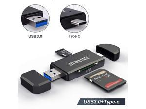 LUOM USB Type C SD Card Reader,USB 3.0 SD Card Reader OTG Adapter for SDXC, SDHC, SD, MMC, RS- MMC, Micro SDXC, Micro SD, Micro SDHC Card and UHS-I Cards (Black)