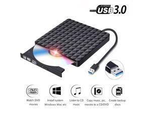 LUOM Diamond Pattern  External DVD Drive USB 3.0, Portable Slim CD Burner RW ROM Drive Player Rewriter Writer High Speed Data Transfer for Mac OS/Desktop/Vista/Linux/Laptop/Windows 10/8/7/XP (Black)