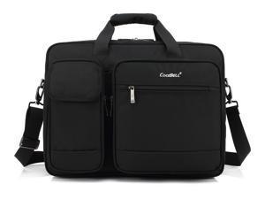 LUOM 17.3 inch Laptop Bag, Travel Briefcase with Organizer, Large Hybrid Shoulder Bag, Water Resisatant Business Messenger Briefcases for Men and Women Fits 17.3 Inch Laptop, Computer, Tablet - Black
