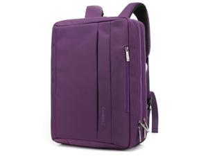 CoolBELL 17.3 Inches Convertible Laptop Messenger Bag Shoulder Bag Backpack Oxford Cloth Multi-Functional Briefcase for Laptop/MacBook/Tablet (CB-5501 Purple)