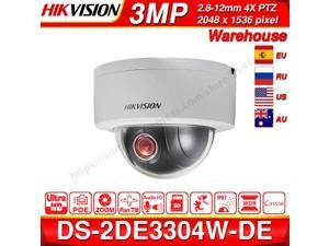 Hikvision DS-2DE3304W-DE 3MP Network Mini PTZ Repositionable Dome Camera POE 4X 2.8 mm~12mm lens Optical Zoom H.264 Video Compression Format Security Surveillance Camera ONVIF English Version, 1-Pack
