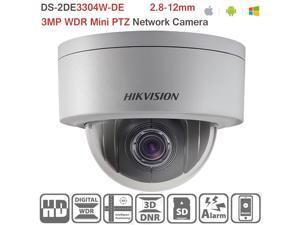 Hikvision 2.8 mm~12mm lens PTZ Camera 3MP 4X Optical Zoom Vandal-Resistant Outdoor HD Network Mini IP Dome Camera DS-2DE3304W-DE PoE ONVIF H.264/MJPEG Support Upgrade , 1-Pack