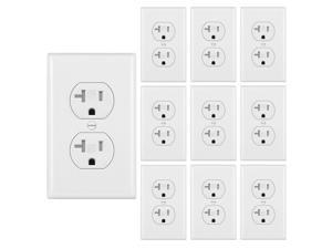 [10 Pack] BESTTEN 20 Amp Duplex Wall Receptacle Outlet, Tamper Resistant, 20A/125V/2500W, UL Listed, White