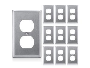 [10 Pack] BESTTEN Duplex Metal Wall Plates, 1 Gang Standard Stainless Steel Outlet Cover, Durable Corrosion Resistant, Industrial Grade 304SS Material, Silver