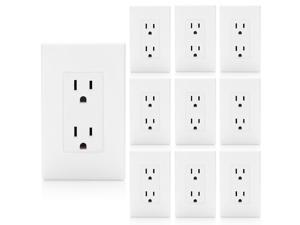 [10 Pack] BESTTEN 15A Decor Receptacle Standard Duplex Electrical Wall Outlet, Decorative Wall Plates Included, Self Grounding, Residential and Commercial Grade, UL Listed, White