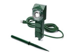 BESTTEN 3-Outlet Power Stake Timer Outdoor Power Strip w// Light Sensor 12FT