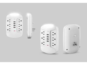 BESTTEN 1080 Joule Surge Protector Wall Outlet with 6 AC Outlets, 4 USB Charging Ports (4.2A/5V) and LED Night Light, ETL Certified, White