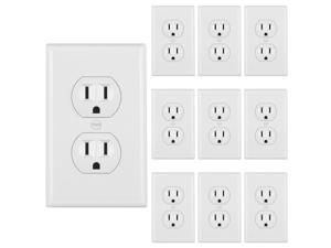 [10 Pack] BESTTEN UL Certified 15A Duplex Receptacle Outlet, 125V/1875W, Self-Grounding, Wall Plates Included, Residential and Commercial Grade, White