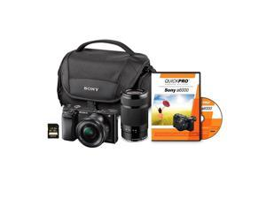Sony a6000 24MP Mirrorless Interchangeable Lens Camera Bundle with 16-50mm Lens & 55-210mm Lens, 32GB SD Card, and Camera Case