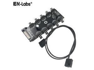 EnLabs PWMHUB10S 10 Ports 4-Pin PWM Fan Hub, SATA 15pin to 10 Fan Power Splitter Adapter Cable w/ Self-sticker for 3Pin / 4Pin fan