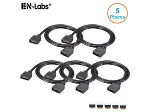 EnLabs 5V 3pin ARGB Female to Female 3 Pin Extension Connector Cord Wire for PC RGB Fan Cooler & 5050 3528 LED Light Strips-1.64FT - 5 Pack