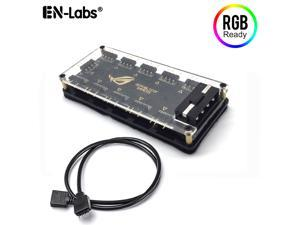 EnLabs 5V 3 pin ARGB RGBW PMMA Case hUB w/ Tape Molex 4pin Powered for ASUS AURA SYNC,RGB Splitter for GIGABYTE MSI ASRock RGB LED Strip Light PC RGB Fan Cooler-1FT Extension Cable Included