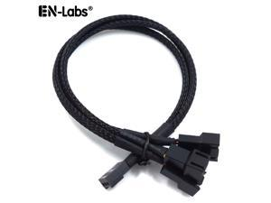 EnLabs Case Fan 3pin 1 to 3 Splitter Cable Hub Adpater,Motherboard 3-pin Fan Sleeved Braided Y Splitter Internal Power Extension Cable for Computer CPU/Case Fan 1x3 Converter - 10 inches