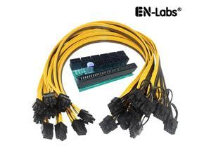 EnLabs KITPSUSW6PX108P Mining Power Supply 12V GPU/PSU 10 Ports 6pin Breakout Board + 10pcs 18AWG PCI-E 6Pin to 6+2Pin Cables (19.69Inch), Power Adapter Board for HP 1200w/750w PSU Ethereum ETH ZEC