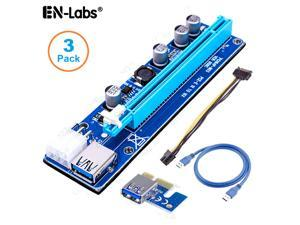 3Packs EnLabs  GPU Riser Cable Adapter,PCIe 1x to 16x PCI Express Extender Riser Card for Ethereum Mining ETH,Power by PCIe 6pin w/ 60cm USB 3.0 Extension Cable& SATA to 6-Pin PCI-E Power Cable