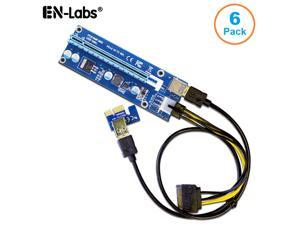 6Packs GPU Riser Cable Adapter,6-Pins PCI-e 1x to 16x Graphics Extension for GPU Mining Powered Riser Card - PCI Express X1 to X16 GPU Card w/ 60cm USB 3.0 & SATA to PCIe 6pin Power Cable Include