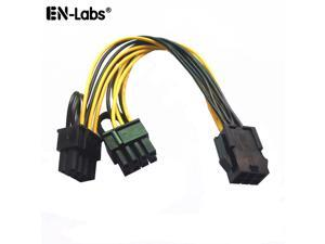 EnLabs PCIE6PSPL8P20CM 8 inch PCIe 6pin to 2 x 8pin(6+2) Male to Female PCI-E Power Splitter Cable for GPU Power Supply,Dual PCIe 8pin Ethereum Mining Video Card to PSU Power Cable