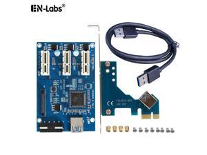 PCIe x1 to 3 x1 Slot PCI-e Express Switch Multiplier Hub GPU Riser Card Adapter w/USB 3.0 Cable,PCIe 1x to 3 Ports Splitter Power by SATA & Molex for Video Card Mining
