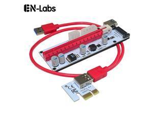 4 Solid Capacitors VER PCI Express PCI-e 1X to 16X Mining Riser Card Cable,USB 3.0 Bitcoin Miner Machine X16 to PCI e Mining ETH GPU Riser Adapter Power by SATA,Molex 4pin , 6pin